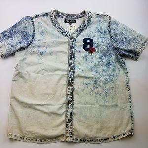 Men's Retro District Button-down Acid Wash Shirt